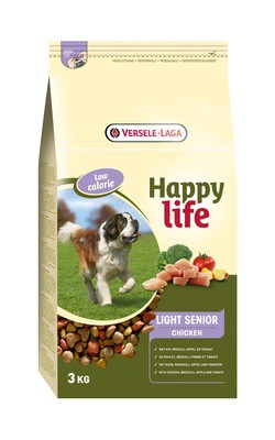 Happy Life (Versele-Laga) для пожилых собак с курицей, контроль веса, Happy life Light Senior Chicken