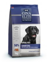 Gina Elite Grain Free Senior Dog Trout with Salmon, Sweet Potato & Asparagus. Полнорационный беззерновой корм для пожилых собак с лососем, бататом и спаржей.